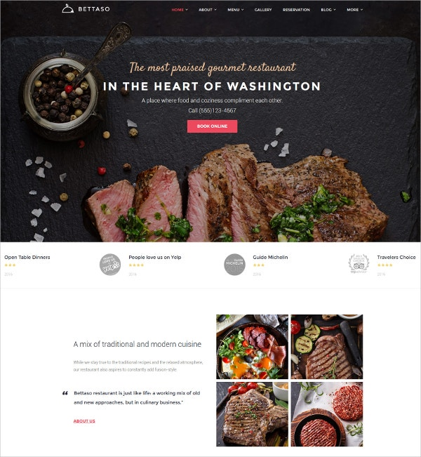 Tasty Food Restaurant WordPress Theme $75