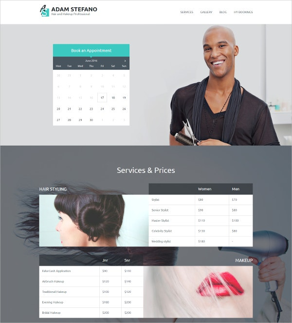 Business Responsive WordPress Theme for Hair Styles & Makeup $55