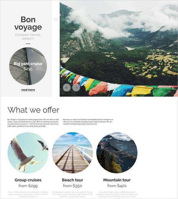 Travel Agency WordPress Theme $75
