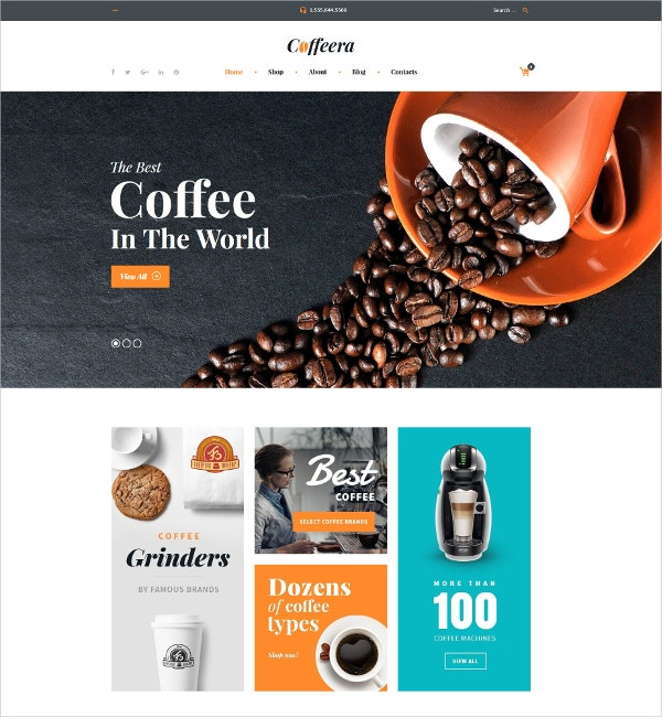 Famous Brands Coffee Shop WooCommerce Theme $114