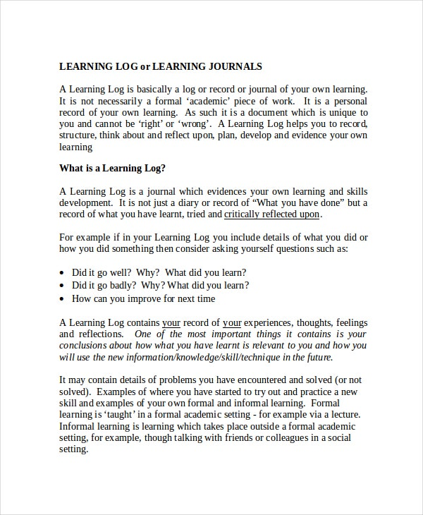 learning journals template