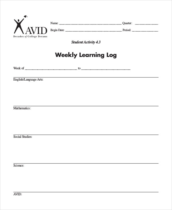 Learning Log Template 10 Free Word Excel PDF Document – Weekly Log Template