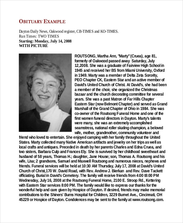 Funeral Obituary Examples