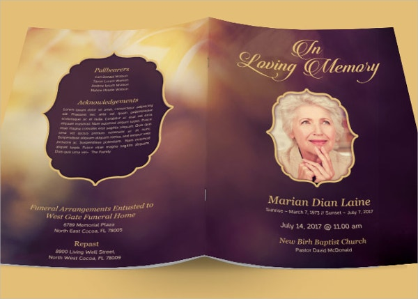 Love Obituary Program Examples