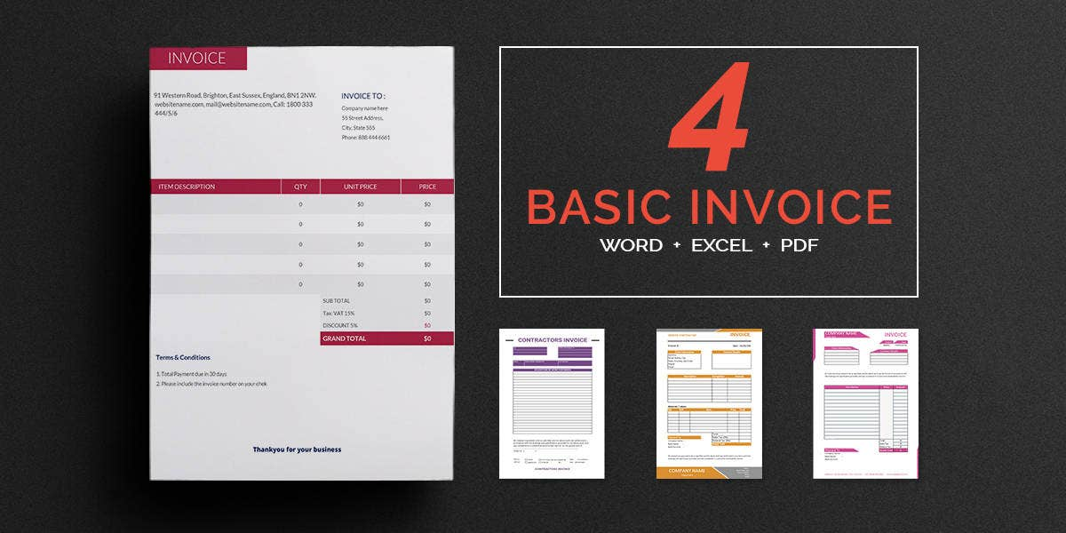 Printable Invoice Template - 12+ Free Word, Pdf, Excel Documents