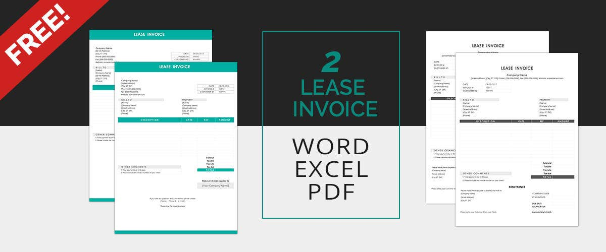 Lease Invoice Templates