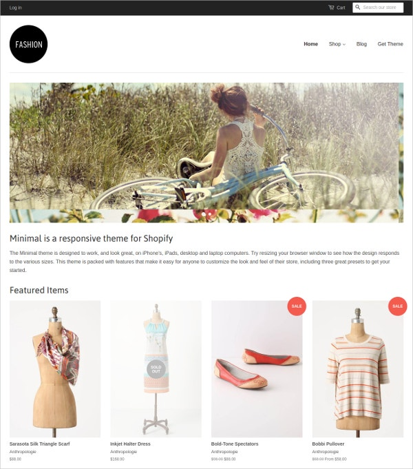 Free Minimal Fashion Shopify Theme