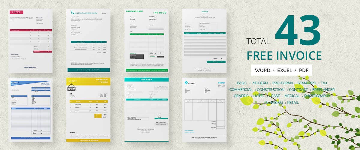 Invoice Template Free Documents In Word Excel PDF Free - Design invoice template word for service business