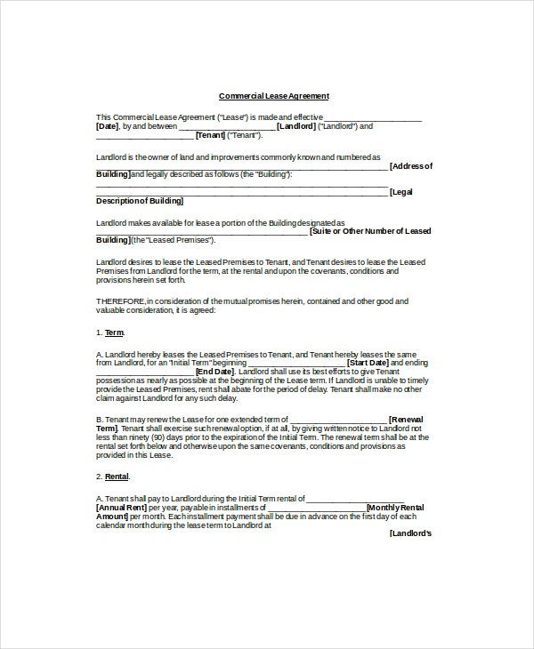 commercial lease agreement template