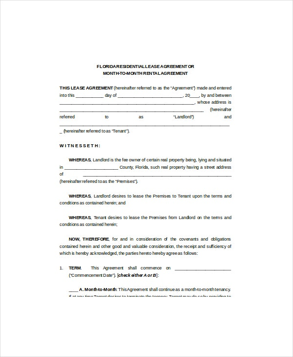 florida residential lease agreement document