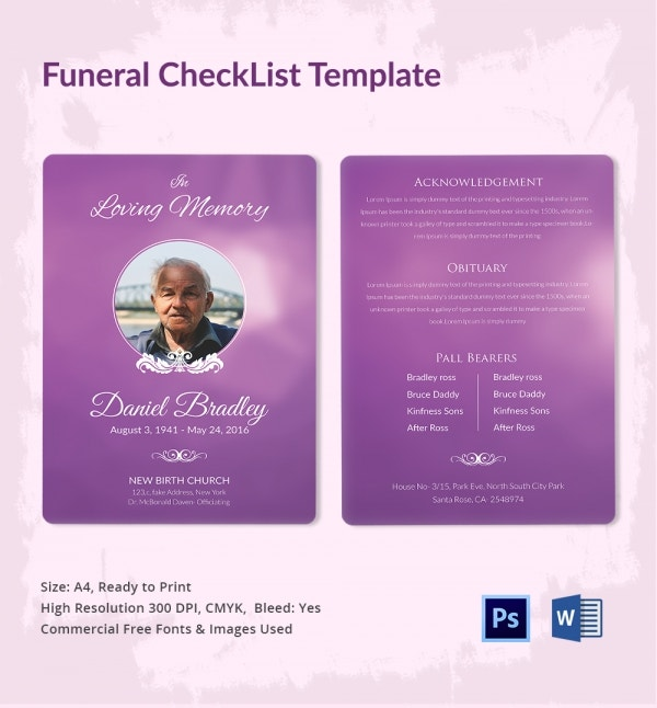 funeral checklist template 5 word psd format download free