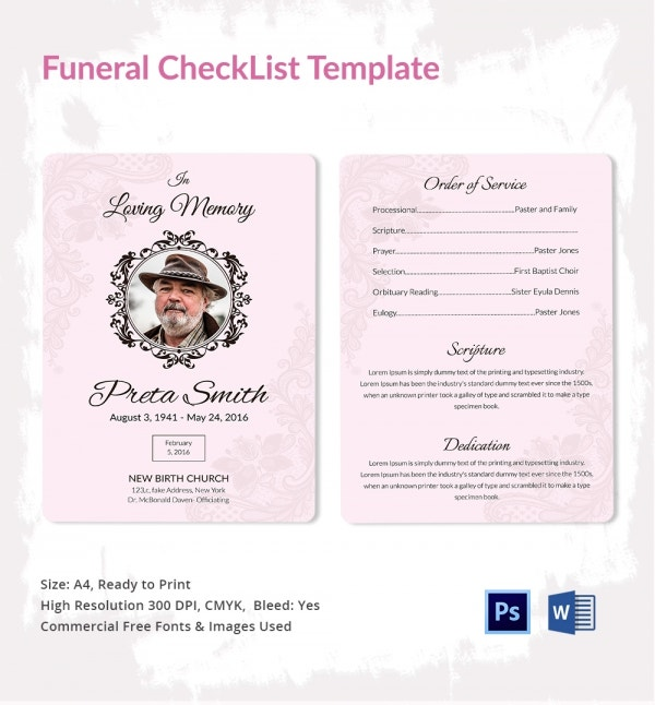 Funeral Checklist Template - 5+ Word, Psd Format Download | Free