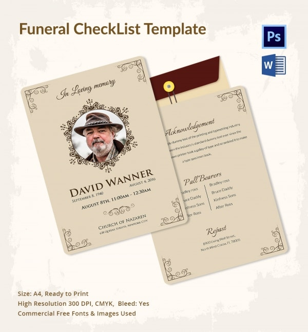 Funeral and Memorial Service Checklist