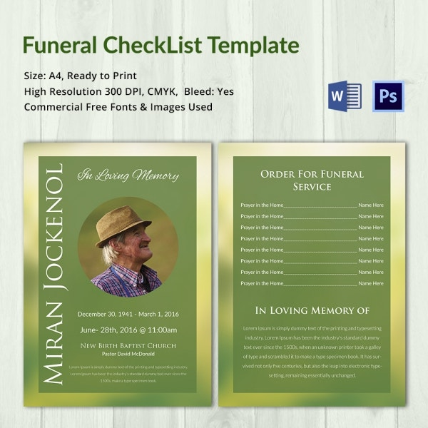 Funeral Checklist Template   Word Psd Format Download  Free
