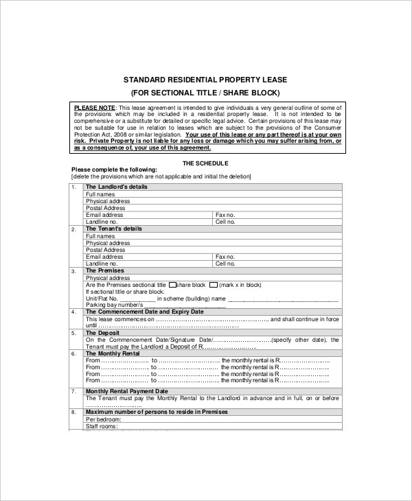 residential property lease template1