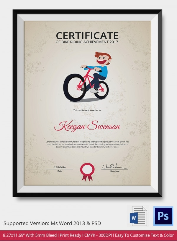 Bike Riding Certificate Template - 4 Free Word, PDF ...