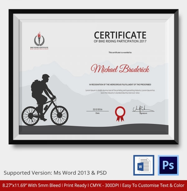 bike riding certificate template