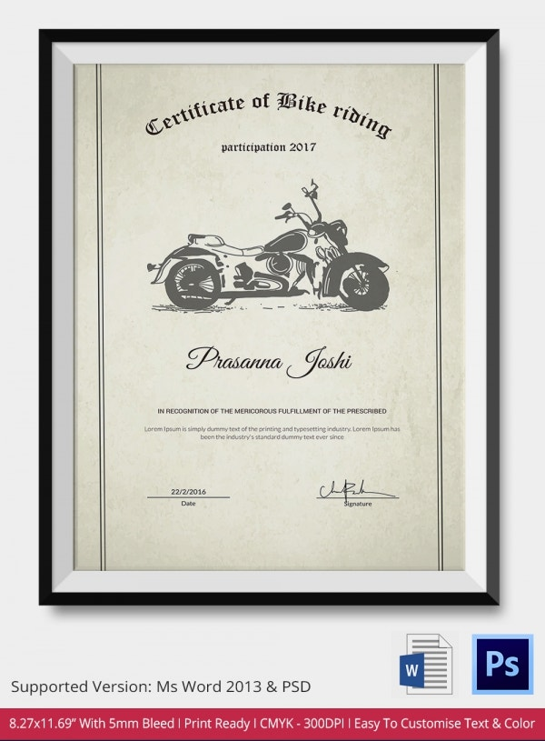 Certificate of Bike Riding Excellence