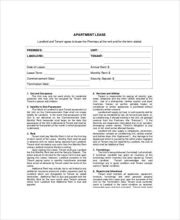apartment lease template1