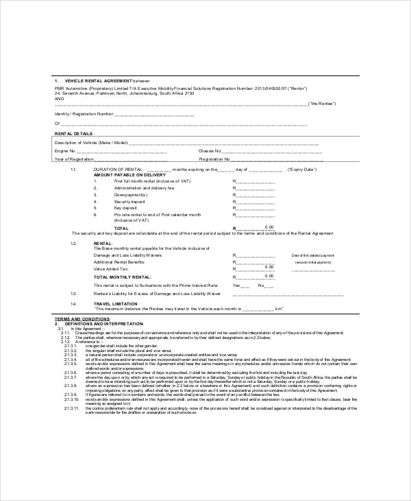 vehicle rent lease agreement template