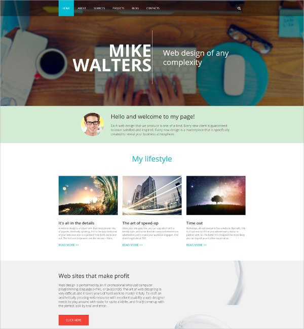 Personal page Drupal Website Template $75