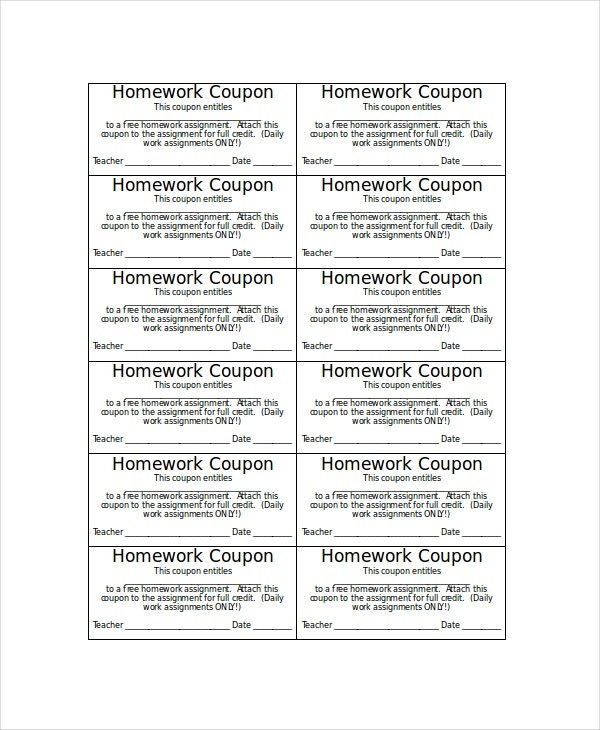 Homework Coupon Template
