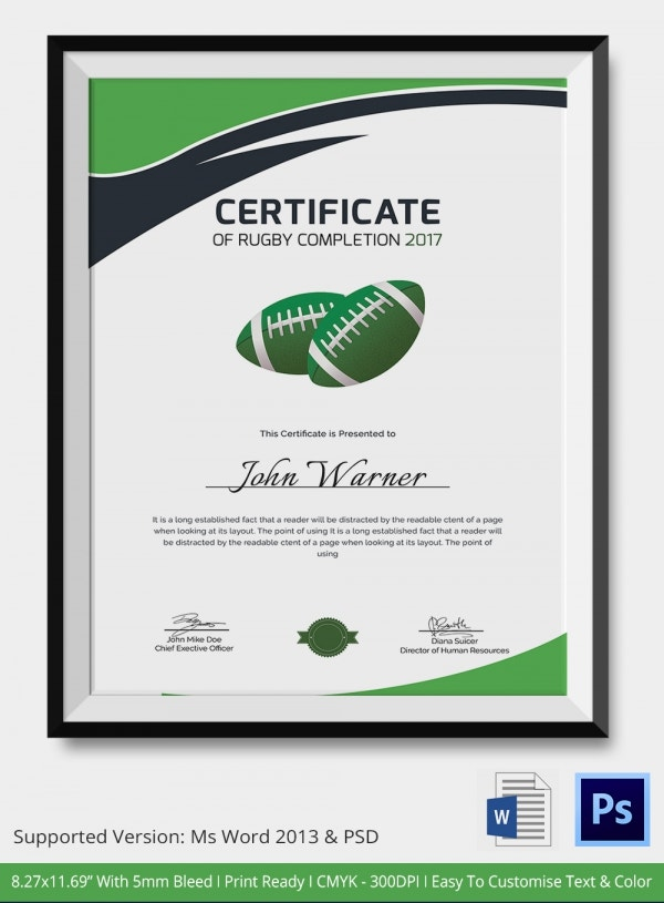 certificate of rugby completion