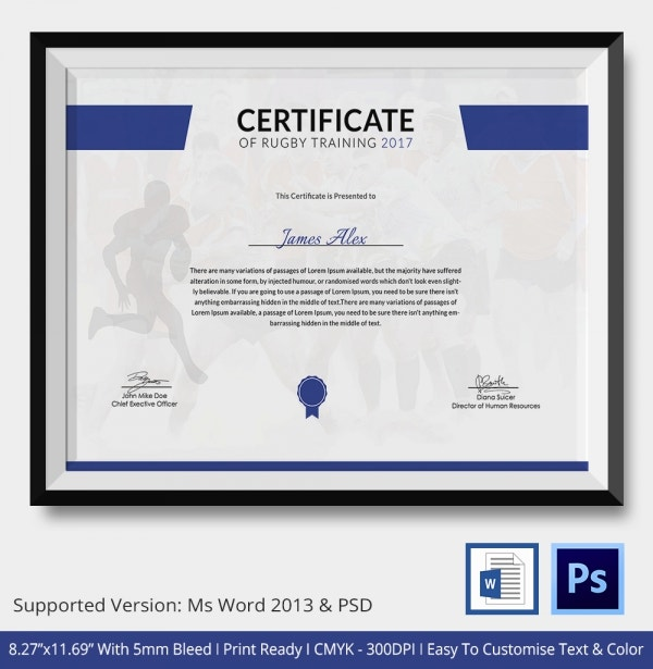 certificate of rugby training