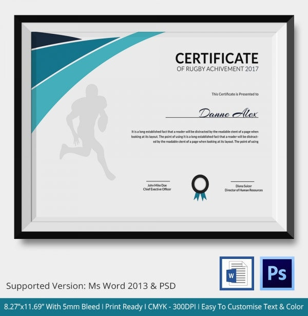 certificate of rugby achievement