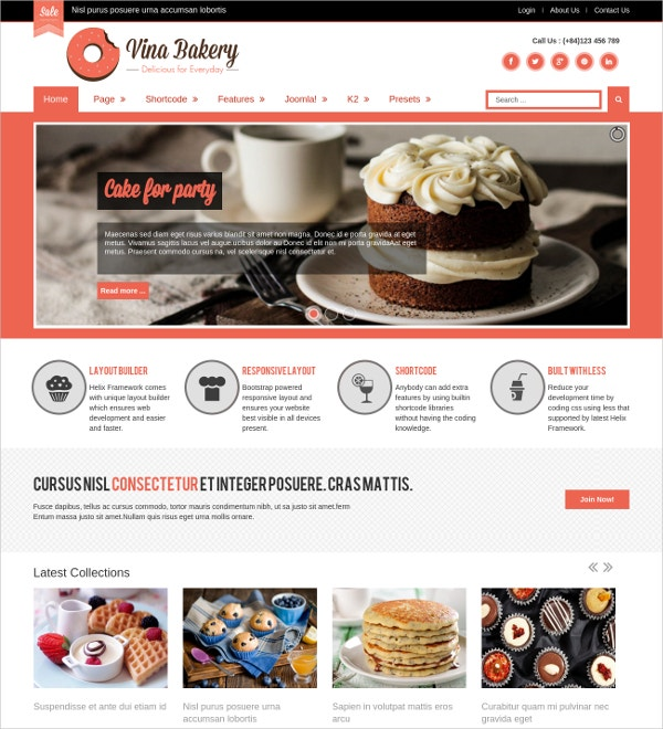 Bakery Business Free Joomla Blog Template