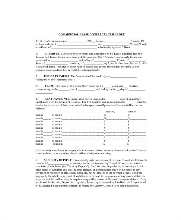 Free Illinois Commercial Lease Agreement  Pdf  Word DocTriple