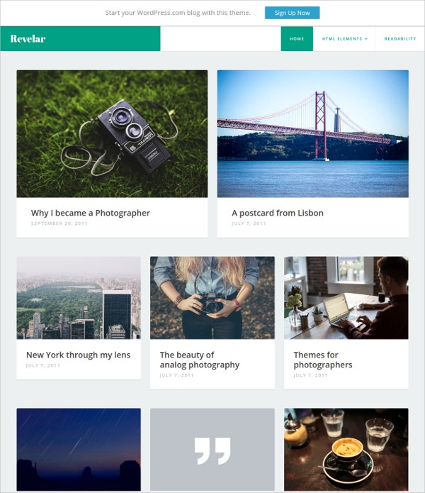 Free Blogging Photography Website Template