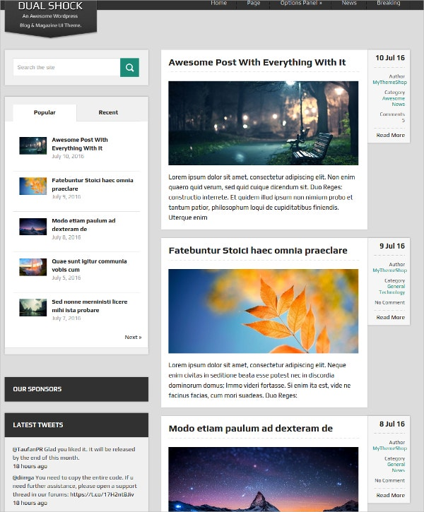 Free Magazine WordPress Blogging Theme