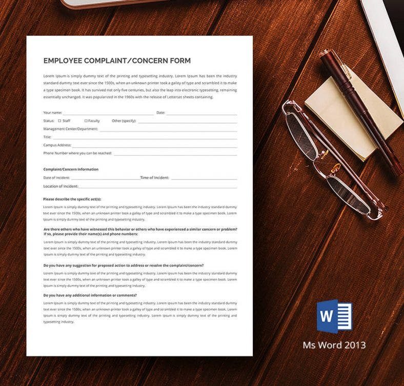hr employee concern form 788x753