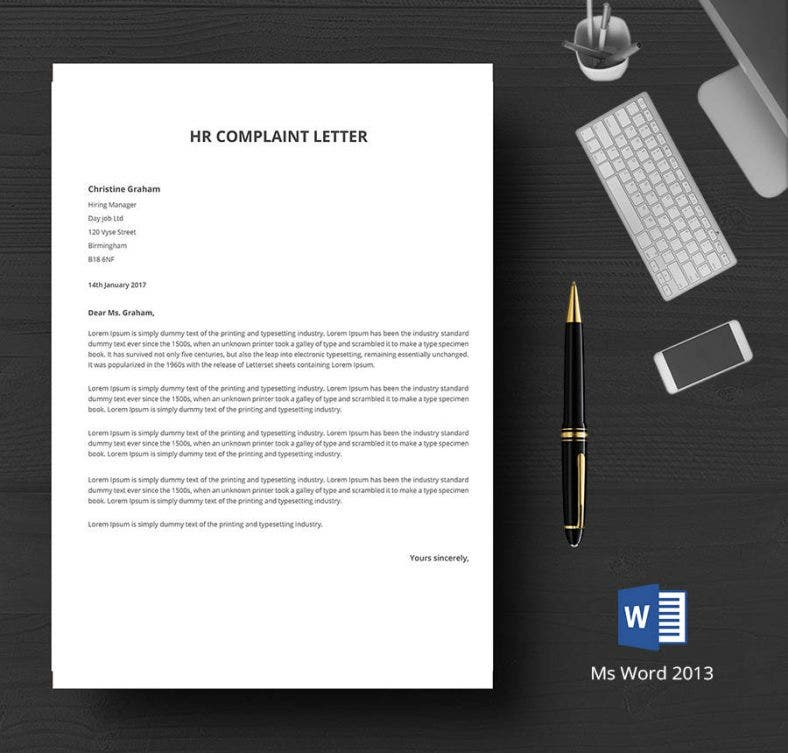 Customized HR Complaint Letter