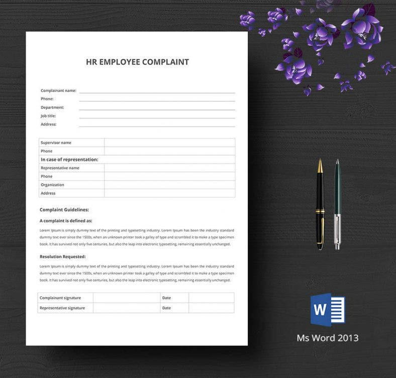 hr employee complaint form 788x753