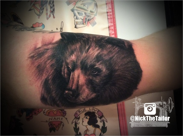 Black and Grey Realistic Bear Portrait Tattoo