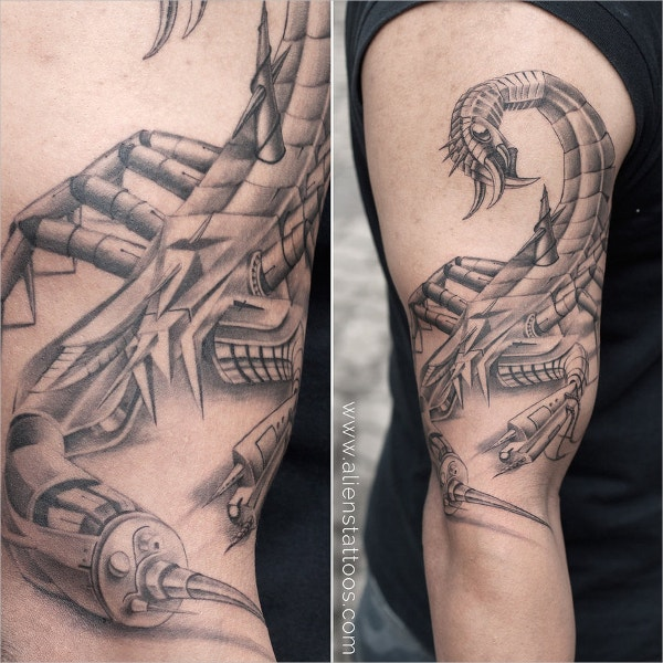 BioMechanical Scorpion 3d Tattoo