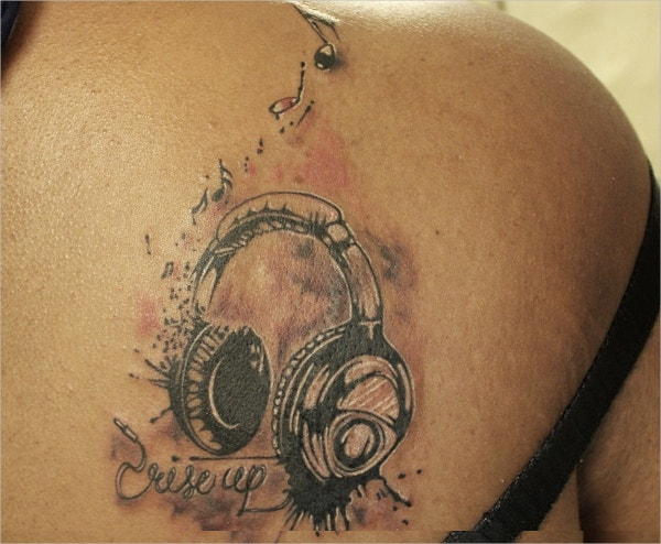 Headphones 3D Tattoo