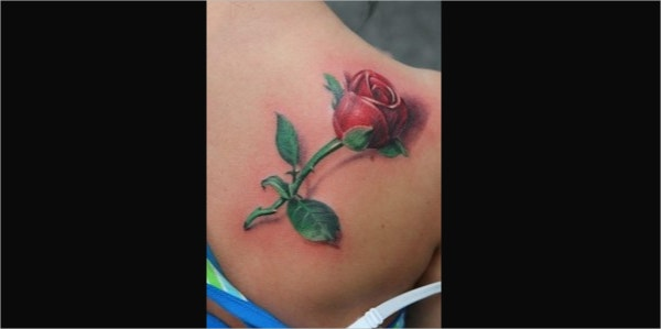 Rose Flower 3D Tattoo Design