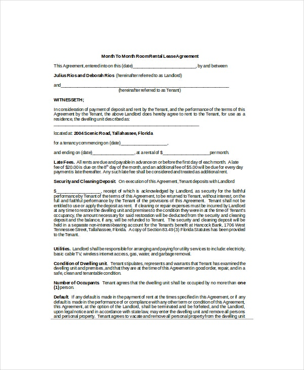 Luxury Month Rental Agreement Template Adornment Example