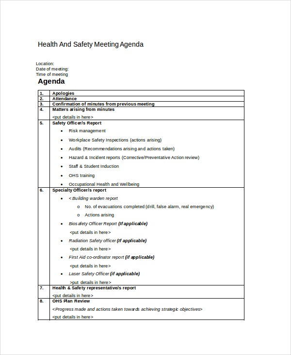 Safety agenda template 6 free word pdf documents for Health and safety committee meeting agenda template