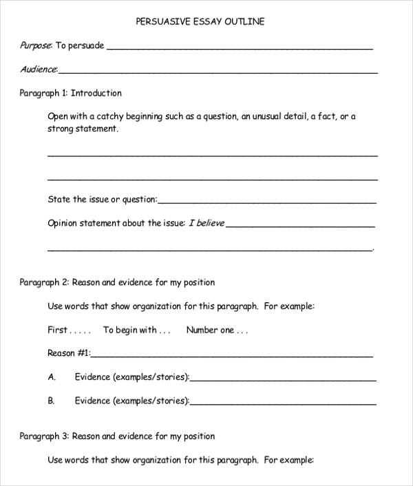 Sample outline argumentative essay