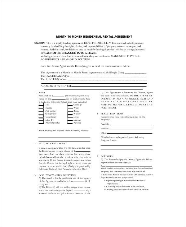 Month To Month Lease Template   Free Word Pdf Documents