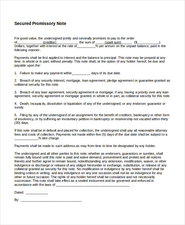 Promissory Note Template   Free Word Pdf Document Downloads