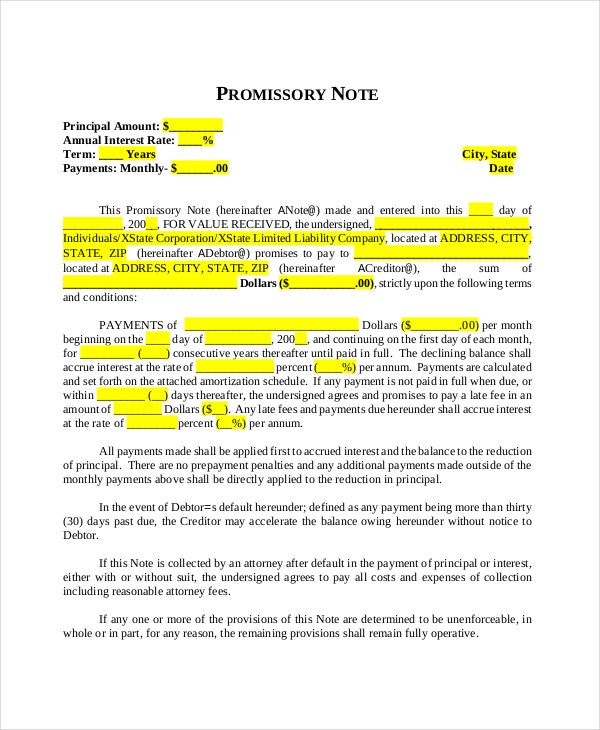 promissory note template 10 free word pdf document downloads