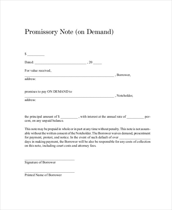 Demand Promissory Note Template  Example Of Promissory Note