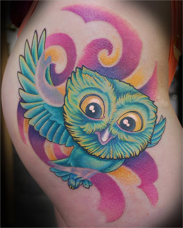 Hip Owl Tattoo