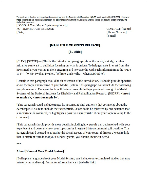 Press Release Template Company Press Release Template Press Release