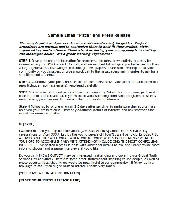 Press Release Email Template